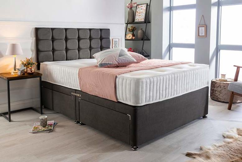 Image of From £105 instead of £325 (from Sleepyn) for a luxury charcoal suede divan bed set with mattress and headboard! - save 68%