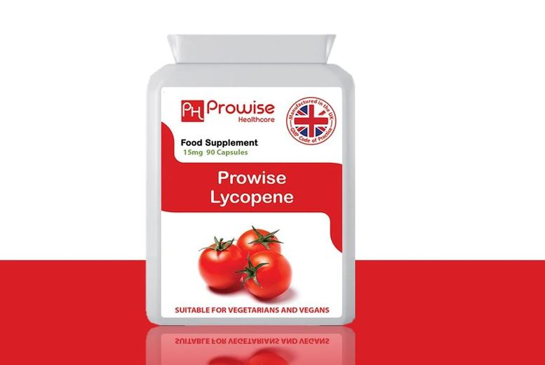 Image of £11.99 instead of £44.99 for a three-month supply of lycopene capsules PROWISE HEALTHCARE LTD - save 73%