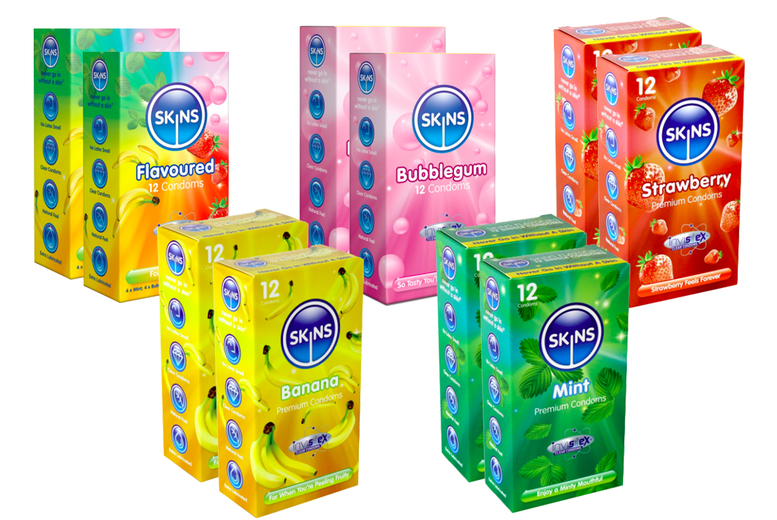 ?8.99 instead of ?17.95 (from Skins Condoms) for a 24-pack of Skins assorted flavour condoms - save 50%