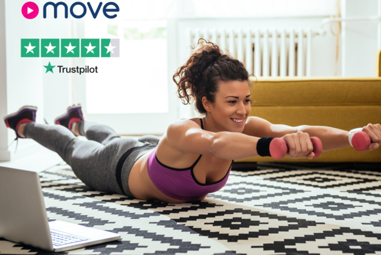 Image of £4 instead of £8 for a two-month Move at Home online subscription – get access to hundreds of taster classes and activities like yoga, Pilates and Zumba from home and save 50%