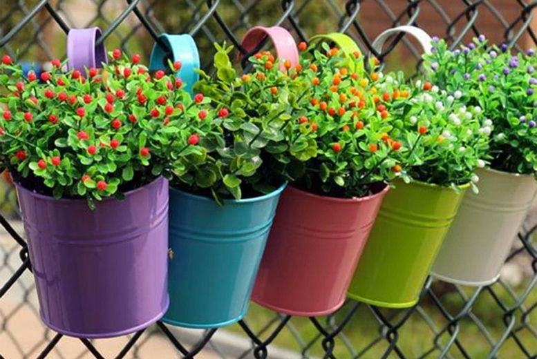 Image of £14.99 (from EC Life-Style) for five hanging flower pots, £26.99 for 10 pots – receive a beautiful assortment of colours