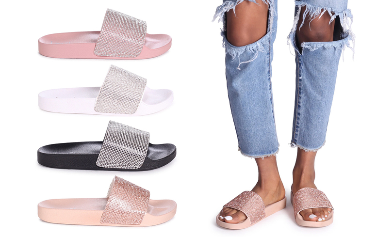 Image of £7.99 (from Linzi) for a pair of slip-on diamante strap sliders