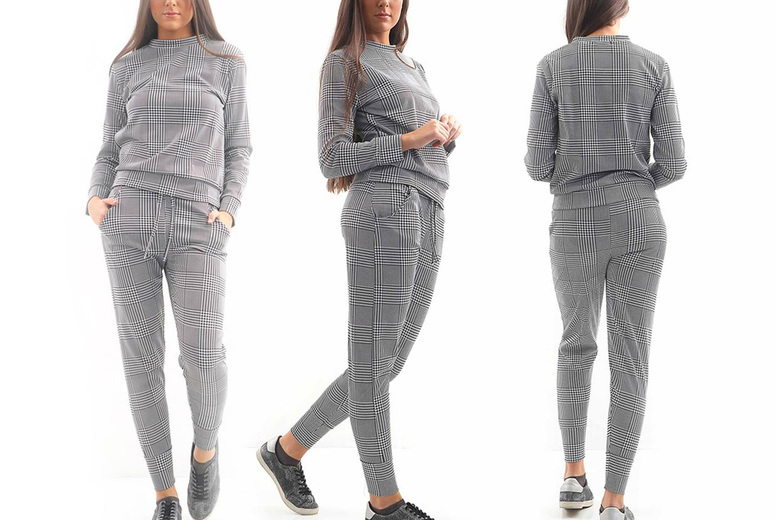 Image of £16.99 (from Love My Fashions) for a women's check print two-piece tracksuit