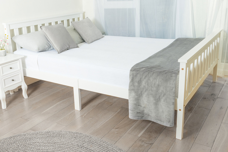 Image of £49 instead of £99.99 (from Bedsstar) for a single white solid wood bed frame or £79 for a double white solid wood bed frame - save up to 51%