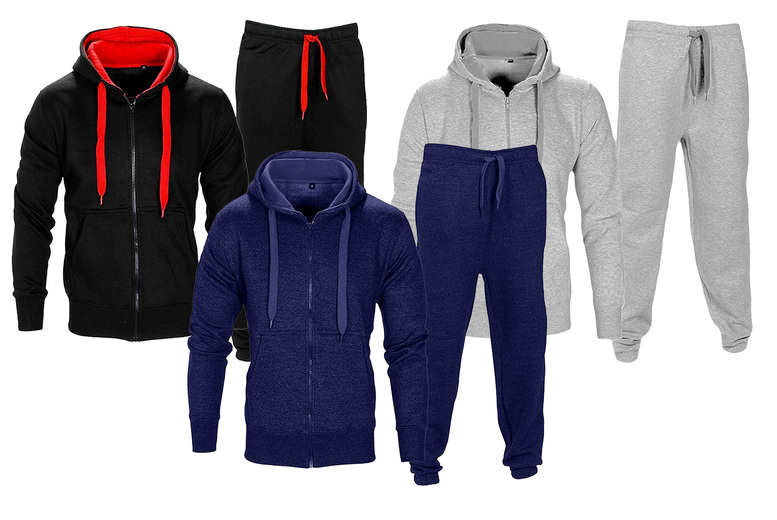 Image of £16.99 (from Love My Fashions) for a men's contrast fleece hooded tracksuit set