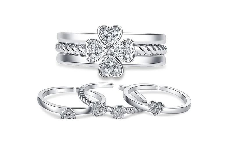 Image of £10.99 instead of £49 for a 3-in-1 silver 925 four leaf clover ring from Genova International Ltd - save 78%