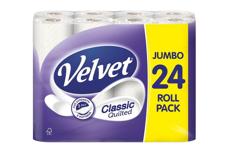Image of £13.99 (from GMS-Ltd) for a 24-pack of Velvet three-ply quilted toilet roll