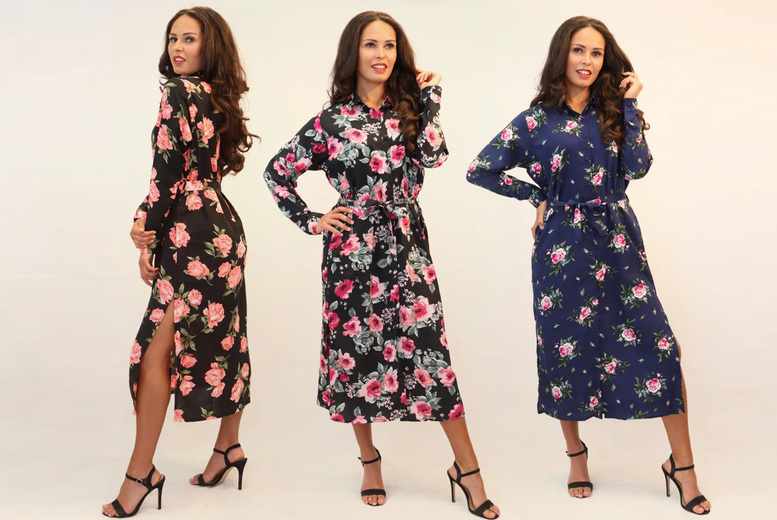 Image of £11.99 (from esSense Wear) for a women's rose shirt side slit dress