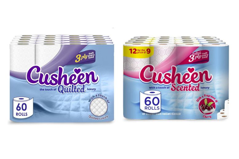Image of £15.99 for a 60 pack of Cusheen quilted three-ply soft toilet rolls from Global Merchant Support