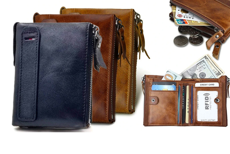 Image of £12.99 (from Dynergy) for a men's RFID genuine leather wallet, £18.99 for two wallets or £25.99 for three wallets