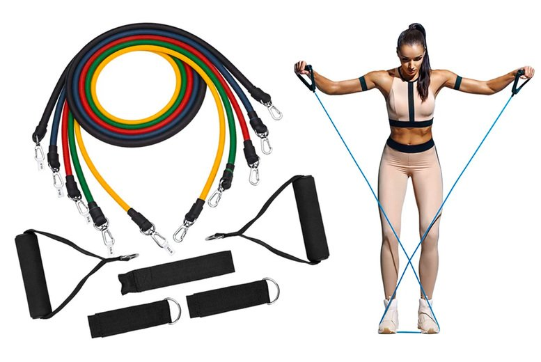 Image of £12.99 instead of £49.99 (from chimp-online) for an 11-piece set of resistance bands - save 74%