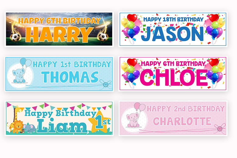 Image of From £2.99 instead of £14.99 (from DecoMatters) for 1, 2, 4 or 6 personalised birthday banners - save up to 80%