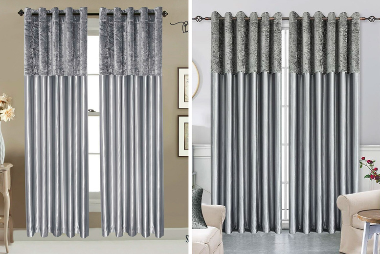 Image of From £13.99 (from Home Decoration World) for a pair of crushed velvet band faux silk curtains!