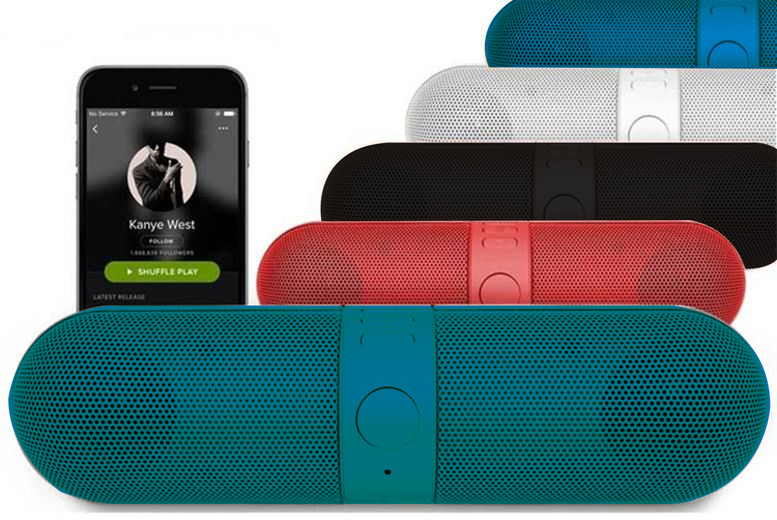 Image of £12 instead of £49.99 (from Magic Trend) for a portable wireless Bluetooth speaker - choose from black, red, blue or white and save 76%