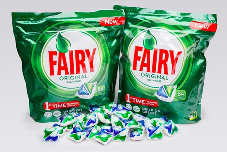 Image of £12.99 for a pack of 84 Fairy Original All-In-One dishwasher tablets from GMS