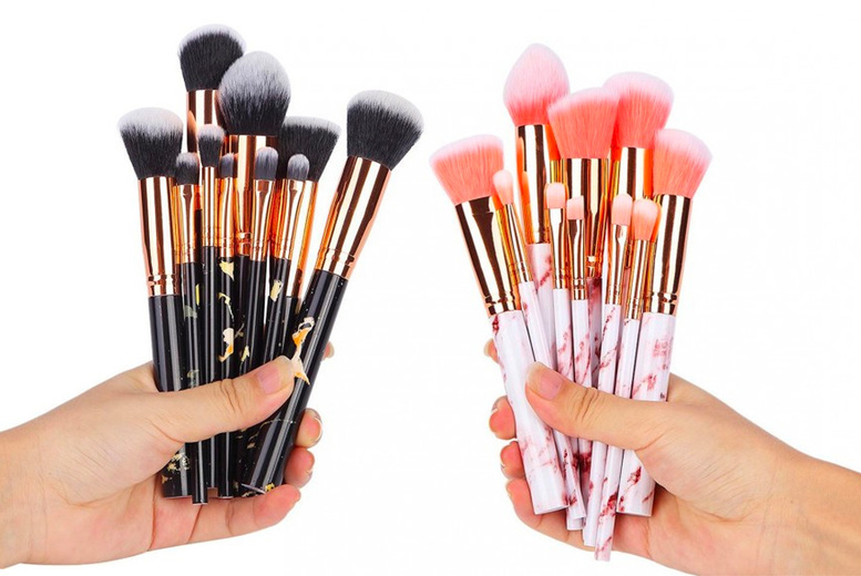 ?8.99 for a 10pc marble effect makeup brush set from hey4beauty - choose from four colours
