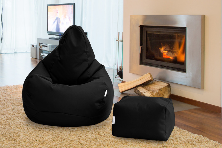 Image of £49 for a high-back water-resistant beanbag chair, £59 to include a matching footstool from Shopsify