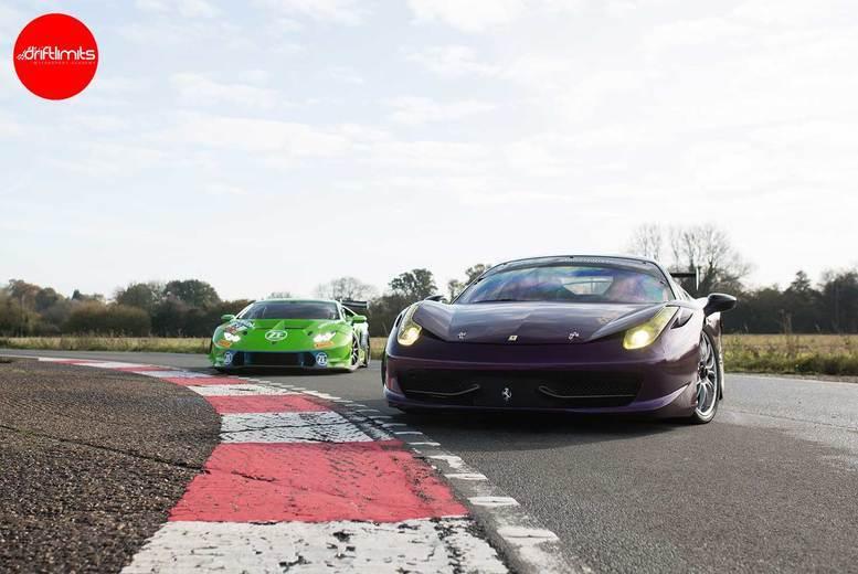 Image of £149 instead of £298 for a 20-lap Lamborghini vs Ferrari supercar at Drift Limits, Hemel Hempstead - save 50%