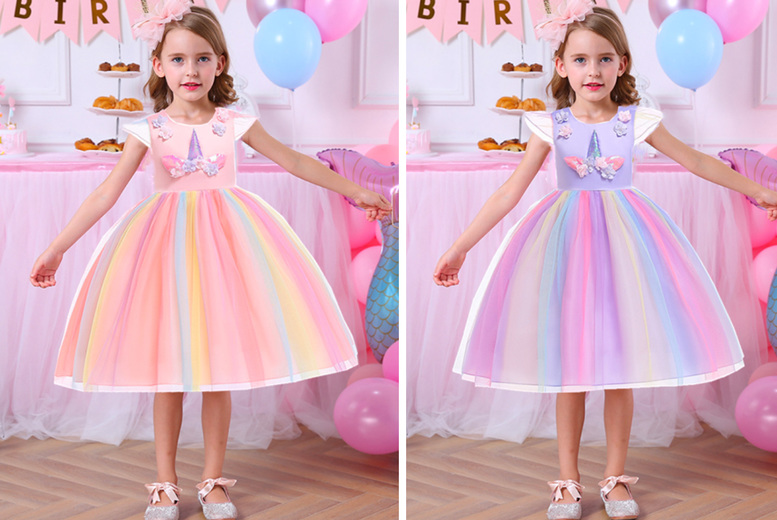 Image of £14.99 instead of £39.99 for a unicorn princess tutu dress in purple pink or yellow from My Brand Logic! - Save 63%