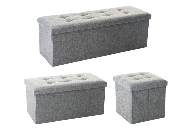 Image of £29.99 instead of £34.99 for a grey folding ottoman storage chest from Bedsstar - save 14%