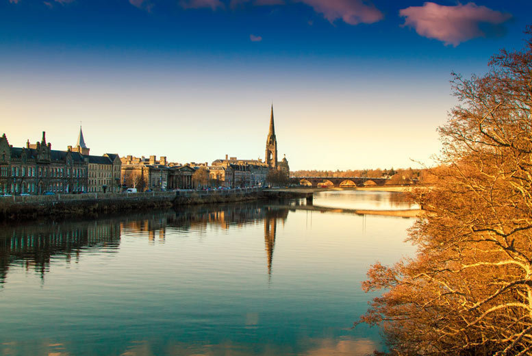 Image of £65 (at Mercure Perth Hotel) for a one-night stay for two with breakfast, a bottle of wine and late check out, £85 to include two course dining, or £125 for two nights with dining on the first night - save up to 37%