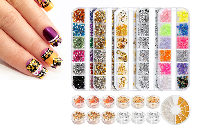 ?9.99 for a DIY nail art gem kit with rhinestones, jewels, foil chips and more - BuySomething!