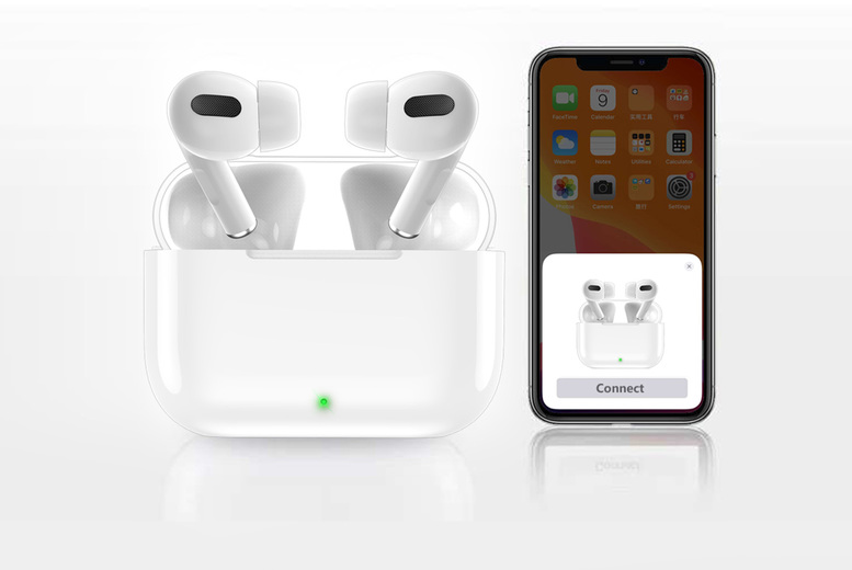 Image of £19.99 instead of £99.99 for a pair of wireless H03 earphones and charging box in white from Best Tablet Company - save 80%