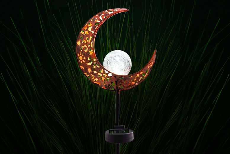 Image of £14.99 instead of £39.99 for one half moon solar stake light, £27.99 for two lights or £49.99 for four lights from Chimp Online - save up to 63%