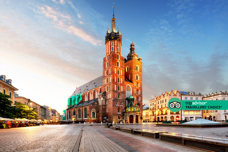 Image of A central Krakow, Poland apartment stay and return flights from six airports. From £79pp for two nights, from £99pp for three nights, or from £129pp for four nights - save up to 52%
