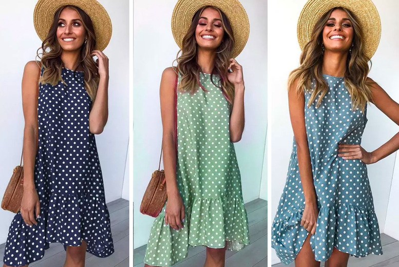 Image of £12.99 for a women's casual summer drop hem swing dress in Black, Navy, Coffee, Green, Red or Blue in UK sizes 8-18 from I-Nod