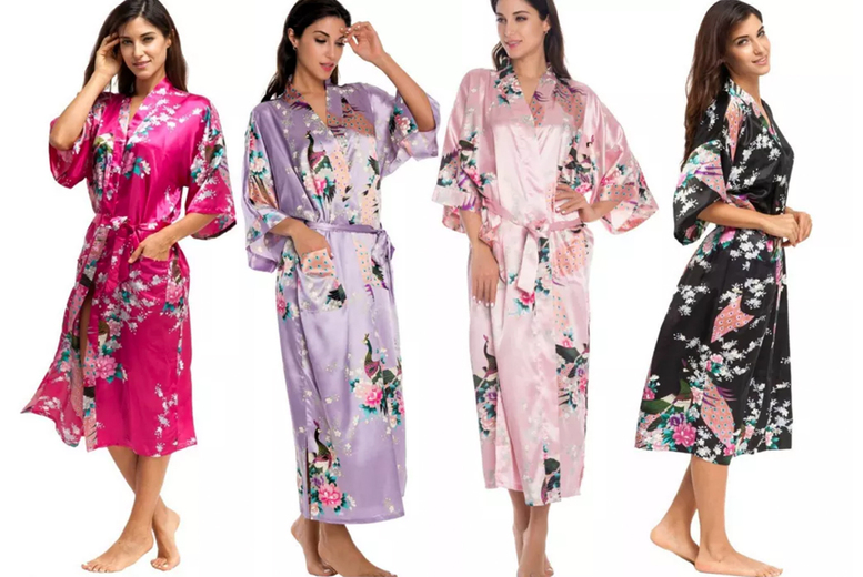 Image of £12.99 instead of £28 for a black, white, pink, rose red, purple and blue women's satin robe from I-nod – save 54%