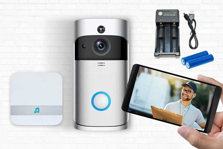 Image of £24 instead of £89.99 for an HD WiFi security doorbell, £24.99 for a doorbell with 32gb SD card or doorbell with chime, £36.99 for a doorbell with battery pack, £49.99 for a doorbell bundle from Maxwe - save up to 73%