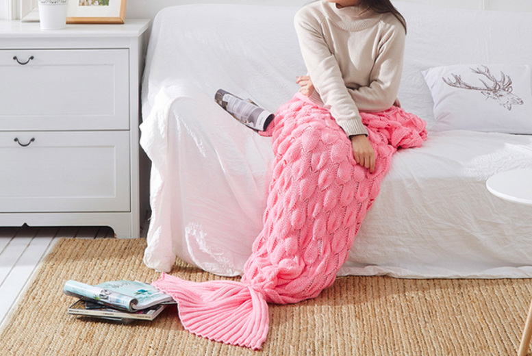 Image of £12.99 for a small mermaid tail blanket or £21.99 for a large mermaid tail blanket from Hey4Beauty