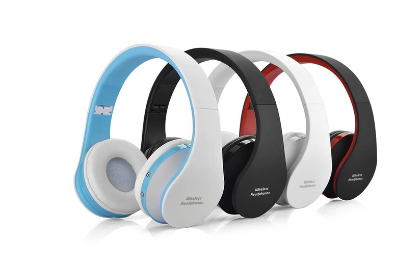 Image of £12.99 instead of £59.99 for foldable wireless headphones in black, white, black/red or white/blue from Magic Trend - save 78%