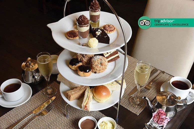 Image of £24 instead of £49 for a chocolate afternoon tea for two people at 4* Grand Royale, London Hyde Park with a glass of Prosecco each - indulge and save 51%