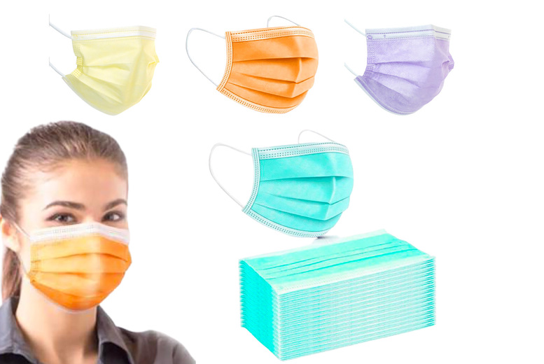 ?8.99 for 50 colourful disposable face coverings or ?16.99 for 100 coverings in black, pink, white, blue, yellow, green, purple or orange from Arther Gold