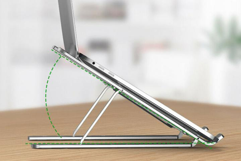 Image of £10.99 instead of £29.99 for an ergonomic adjustable laptop stand in silver from Life-Style - save 63%