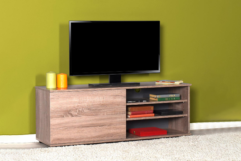 Image of £45 instead of £109.95 for a 90cm oak-style TV stand unit with a cupboard and shelves, £59 for a 120cm stand from iQGB UK! - Save 59%