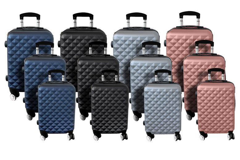 Image of £69.99 for a three-piece diamond suitcase set