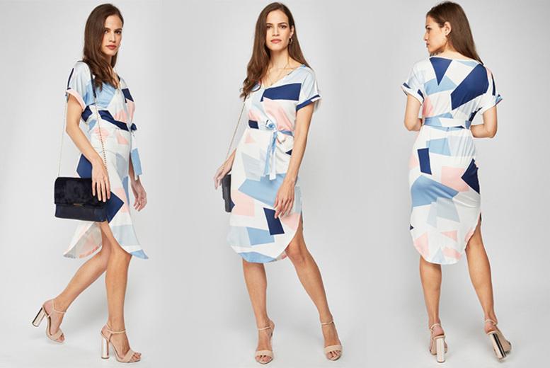 Image of £1.99 instead of £22 for a geometric boho tie-waist midi dress - save 91%