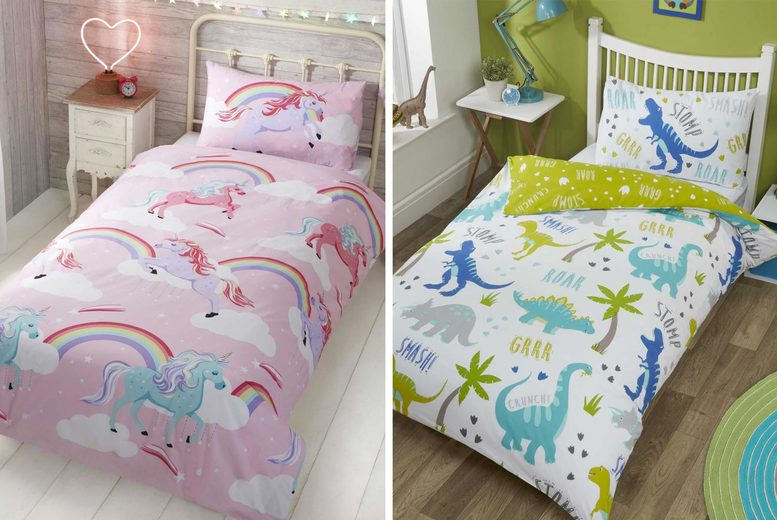 Image of £12.99 for a kids' single bedding set in My Little Unicorn or Roarsome Dinosaur designs from Home Decoration World!