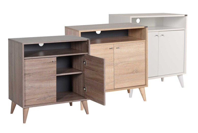 Image of £55 instead of £122 for a two-door side cabinet unit in brown, coffee or white from IQGB - save 55%