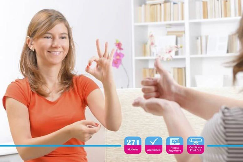 Image of £12 instead of £299 for an accredited British Sign Language Level 1 & 2 online course from Alpha Academy - save 96%