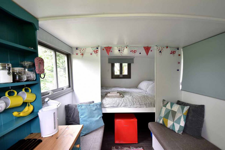 Image of A Nottinghamshire glamping stay at Little Oak for two people in a Romany-style caravan including BBQ hire, homemade jams and tea and coffee. £55 for one night, £79 for two nights, £109 for three nights and £169 for five nights - save up to 24%