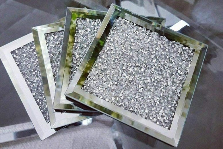 Image of £12.99 for a set of four crushed diamante coasters from Discounted Price LTD T/A Salt Lamps-UK