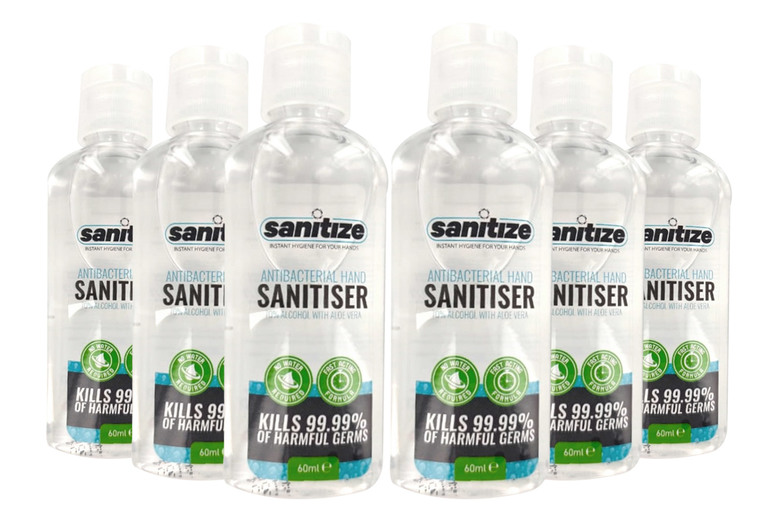 ?7.99 for a pack of six 60ml Sanitize hand sanitisers, ?9.99 for three 250ml bottles or ?18.99 for five 500ml bottles!
