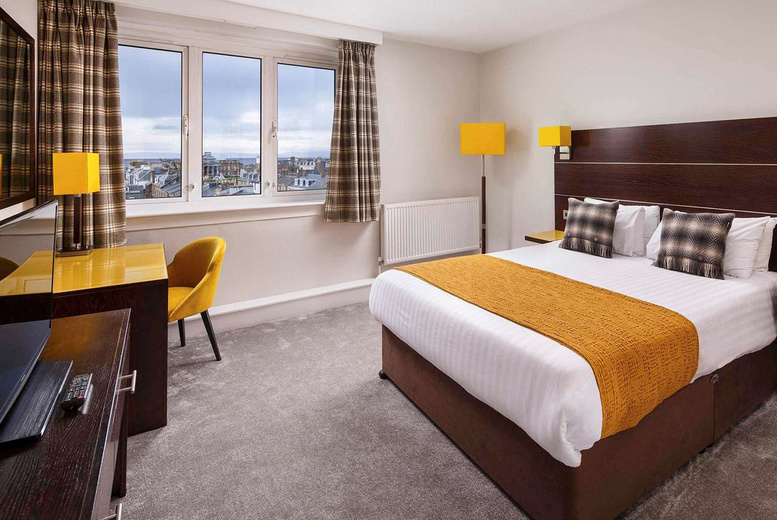 Image of An Ayr stay at Mercure Ayr Hotel for two with one bottle of wine, spa access and breakfast. £89 for an overnight stay with two-course dinner, £99 for two nights, or £129 for two nights with dinner on first night - save up to 36%
