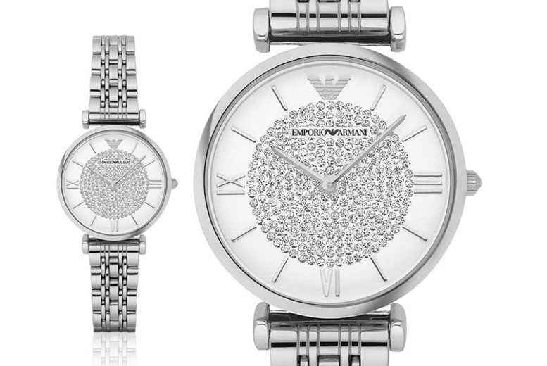 Image of £109 for a ladies' silver Emporio Armani luxury watch from Best Watch Company