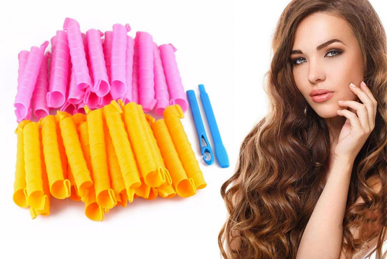 ?7.99 instead of ?19.99 for a set of 18 magic no-heat hair curlers with styling hook from Pink Pree - save 60%