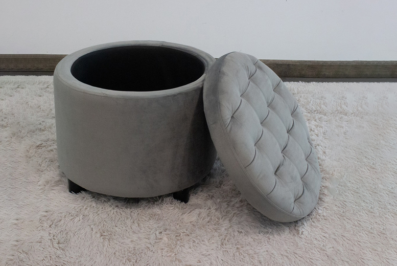 Image of £45 instead of £119.99 for a round ottoman storage stool in grey or cream from iQGB UK! - save 62%